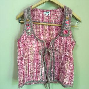 J. Peterman Wool and Silk Trim Woven Vest (s)